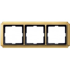 Рамка 3 поста Merten Antique. Цвет Блестящая латунь MTN483321
