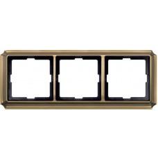 Рамка 3 поста Merten Antique. Цвет Античная латунь MTN483343