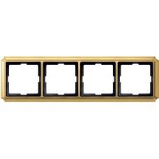 Рамка 4 поста Merten Antique. Цвет Блестящая латунь MTN483421