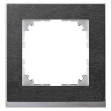 Рамка 1-постовая Merten M-Pure Decor. Цвет Сланец/Цвет алюминия MTN4010-3669