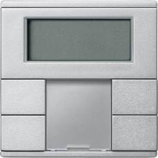 2-кнопочный выключатель с терморегулятором KNX plus Merten System M. Цвет Алюминий MTN6212-0460