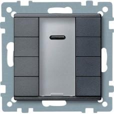 4-кнопочный выключатель KNX plus с ик-приемником Merten System M. Цвет Антрацит MTN627914