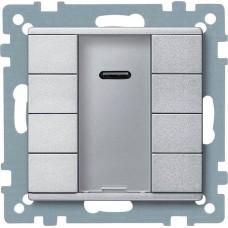 4-кнопочный выключатель KNX plus с ик-приемником Merten System M. Цвет Алюминий MTN627960