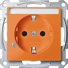 Механизм розетки с индикацией и полем для надписи Merten Shuko, 2 полюса, 16А. Цвет Оранжевый, MTN2303-0302