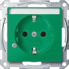 Механизм розетки с индикацией и полем для надписи Merten Shuko, 2 полюса, 16А. Цвет Зеленый, MTN2303-0304