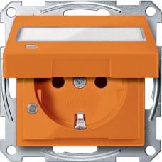 Механизм розетки с крышкой, индикацией и полем для надписи Merten Shuko, 2 полюса, 16А. Цвет Оранжевый, MTN2313-0302