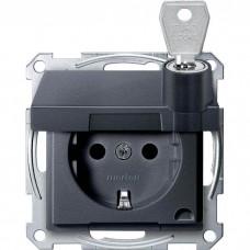 Механизм розетки с крышкой и ключом Merten Shuko, 2 полюса, 16А. Цвет Антрацит, MTN2315-0414