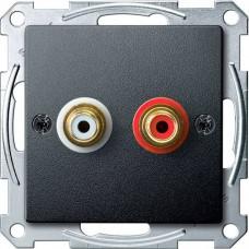 Механизм аудио розетки Merten. Цвет Антрацит, MTN4350-0414