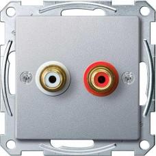 Механизм аудио розетки Merten. Цвет Алюминий, MTN4350-0460