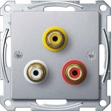 Механизм аудио/видео розетки Merten. Цвет Алюминий, MTN4351-0460
