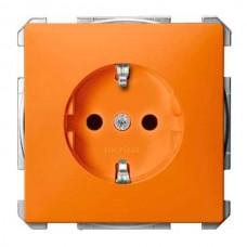 Механизм розетки с защитными шторками, заземлением и накладкой Merten Shuko, 2 полюса, 16А. Цвет Оранжевый