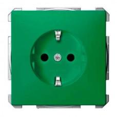 Механизм розетки с защитными шторками, заземлением и накладкой Merten Shuko, 2 полюса, 16А. Цвет Зеленый, MTN2300-0304