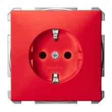 MTN2300-4006 Механизм розетки с защитными шторками и заземлением Merten Shuko, 2 полюса, 16А. Цвет Рубиновый