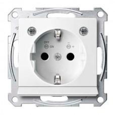 Механизм розетки с заземлением, защит. шторками, накладкой и подсветкой Merten Shuko, 2 полюса, 16А (полярно-белый)