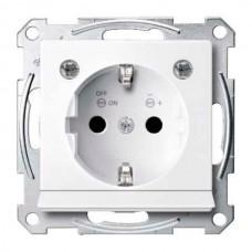 Механизм розетки с заземлением, защит. шторками, накладкой и подсветкой Merten Shuko, 2 полюса, 16А (активный белый)