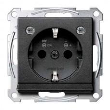 Механизм розетки с заземлением, защит/ шторками, накладкой и подсветкой Merten Shuko, 2 полюса, 16А (антрацит)