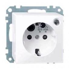 MTN501125 Механизм розетки с таймером и защитными шторками Merten Shuko, 2 полюса, 10А. Цвет Активный белый
