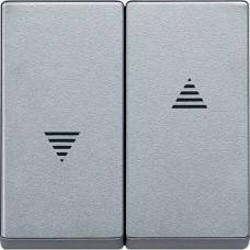 Двойная клавиша для клавишного и кнопочного выключателя рольставней Merten System M. Цвет Алюминий MTN435560
