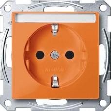 Механизм розетки с заземлением и полем для надписи Merten Shuko, 2 полюса, 16А. Цвет Оранжевый, MTN2302-0302