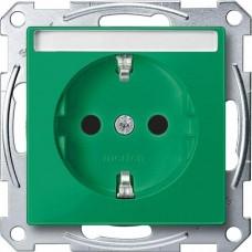 Механизм розетки с заземлением и полем для надписи Merten Shuko, 2 полюса, 16А. Цвет Зеленый, MTN2302-0304