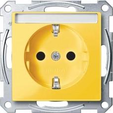 Механизм розетки с заземлением и полем для надписи Merten Shuko, 2 полюса, 16А. Цвет Желтый, MTN2302-0307