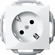 Механизм розетки с заземлением и шторками Merten Schuko 45°, 2 полюса, 16А. Цвет Активный белый, MTN2370-0325