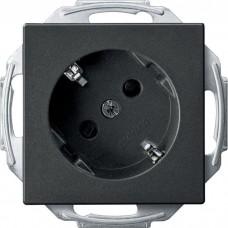 Механизм розетки с заземлением и шторками Merten Schuko 45°, 2 полюса, 16А. Цвет Антрацит, MTN2370-0414