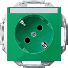 Механизм розетки с заземлением, шторками и полем для надписи Merten Schuko 45°, 2 полюса, 16А. Цвет Зеленый, MTN2372-0304