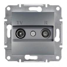 Розетка TV-R проходная 8 dB Asfora. Цвет Сталь EPH3300362