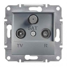 Розетка TV-R-SAT проходная 4 dB Asfora. Цвет Сталь EPH3500262