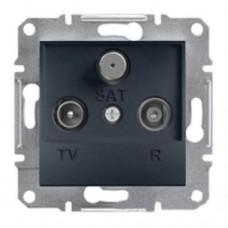 Розетка TV-R-SAT проходная 4 dB Asfora. Цвет Антрацит EPH3500271