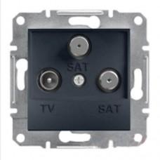 Розетка TV-SAT-SAT концевая 1 dB Asfora. Цвет Антрацит EPH3600171