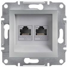 EPH4400161 Розетка компьютерная двойная Кат5e UTP Asfora. Цвет Алюминий