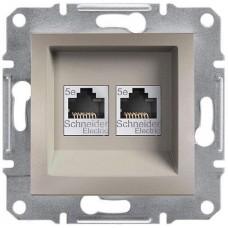 EPH4400169 Розетка компьютерная двойная Кат5e UTP Asfora. Цвет Бронза