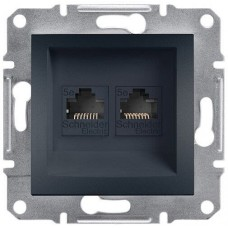 Розетка компьютерная двойная Кат5e UTP Asfora. Цвет Антрацит EPH4400171