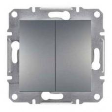 EPH0300162 Двухклавишный выключатель серии Asfora IP20. Цвет Сталь
