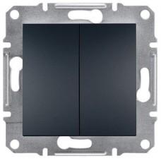 EPH0300171 Двухклавишный выключатель серии Asfora IP20. Цвет Антрацит