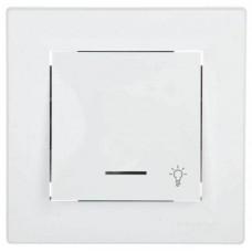 """EPH1800121 Кнопковий вимикач з підсвічуванням та символом """"світло"""" Asfora IP20"""