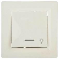 """EPH1800123 Кнопковий вимикач з підсвічуванням та символом """"світло"""" Asfora IP20"""