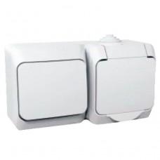 Комбинированный наружный блок розетка + выключатель 16A Cedar Plus. Белый. WDE000500