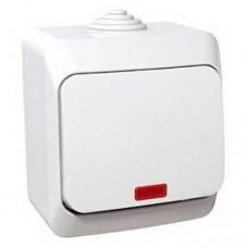 Одноклавишный наружный выключатель с подсветкой 16A Cedar Plus. Белый. WDE000514