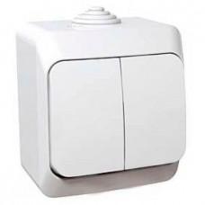 Двухклавишный наружный выключатель 16A Cedar Plus. Белый. WDE000550