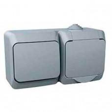 Комбинированный наружный блок розетка + выключатель 16A Cedar Plus. Серый. WDE000600
