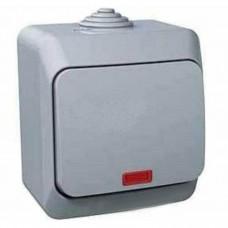 Одноклавишный наружный выключатель с подсветкой 16A Cedar Plus. Серый. WDE000614