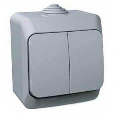 Двухклавишный наружный выключатель 16A Cedar Plus. Серый. WDE000650