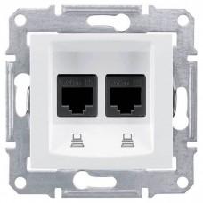 SDN4400121 Компьютерная розетка двойная UTP RJ45 кат.5e неэкранированная Sedna. Цвет Белый