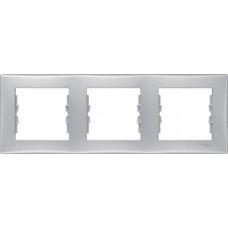 SDN5800560 Декоративная рамка 3-постовая горизонтальная Sedna. Цвет Алюминий