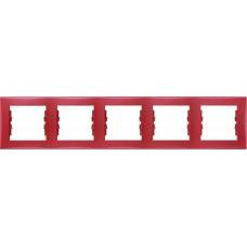 SDN5800941 Декоративная рамка 5-постовая горизонтальная Sedna. Цвет Красный