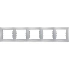 SDN5800960 Декоративная рамка 5-постовая горизонтальная Sedna. Цвет Алюминий