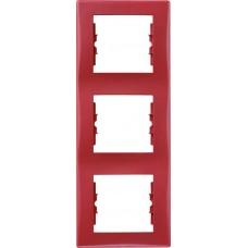 SDN5801341 Декоративная рамка 3-постовая вертикальная Sedna. Цвет Красный